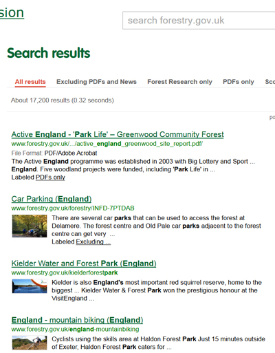 Google custom search on the forestry commission website
